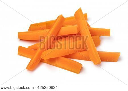 Heap of fresh raw healthy carrot sticks as a snack isolated on white background