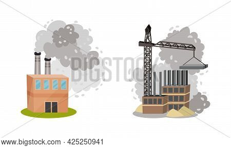 Air Pollution Sources With Industrial Radioactive Waste Vector Scene Set