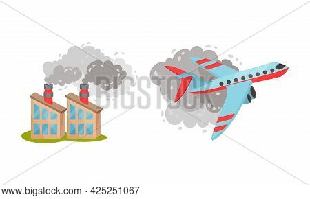 Air Pollution Sources With Industrial Radioactive Waste And Air Traffic Vector Scene Set