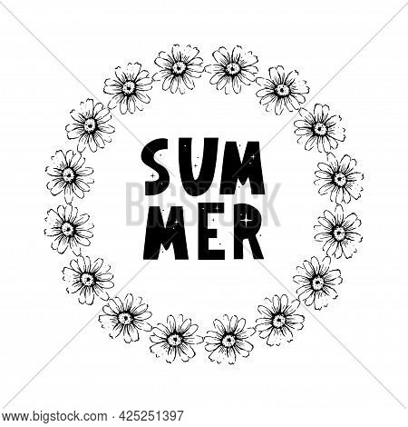 Spring Summer Chamomile Flowers Frame Composition. Bright Spring Background Design. Vector Resizable