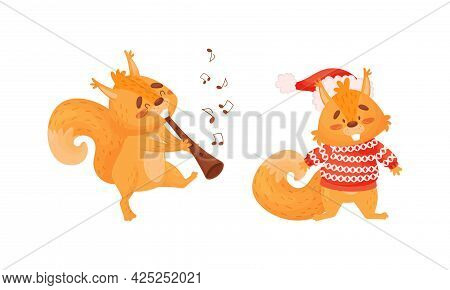 Fluffy Squirrel Character Wearing Knitted Sweater And Playing Flute Vector Set