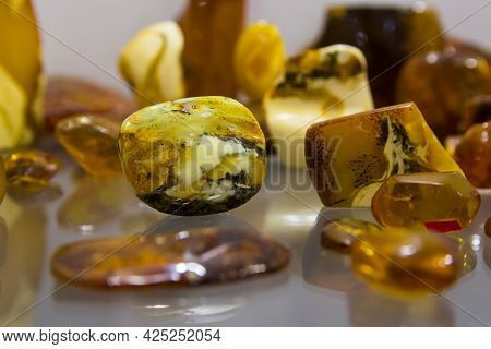 Amber. Pieces Of Transparent Yellow Amber. Sun Stone .. Yellow Stone