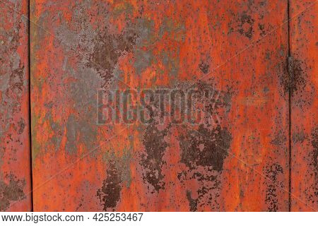 Rusty Metal Background. Red Metal Texture With Rust. Rust Stains A Lot.