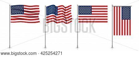Set Of Usa Flags On Metallic Pole.
