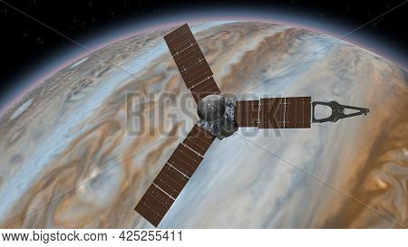 Juno Is A Nasa Space Probe Orbiting The Planet Jupiter. Jupiter Planet Rotating In The Outer Space.