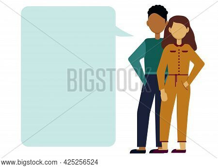 Vector Illustration Of A Man And A Woman Leading A Dialogue. Bubbles For Text