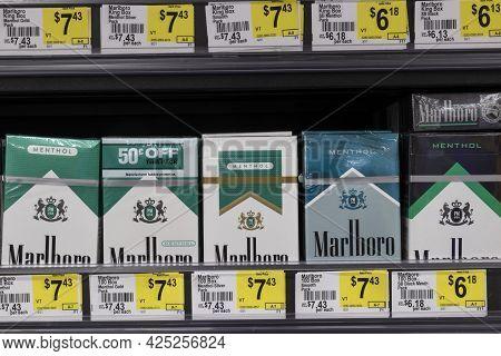 Indianapolis - Circa June 2021: Marlboro Menthol Cigarettes. The Fda Is Considering A Ban On Menthol
