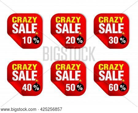 Crazy Sale Red Sticker Set With Bomb Icon. Sale 10%, 20%, 30%, 40%, 50%, 60% Off. Vector Illustratio