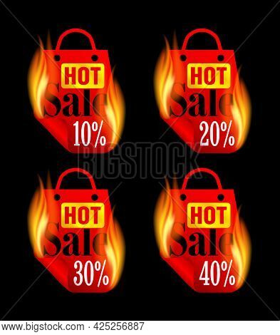 Hot Sale Stickers Set With Red Burning Package. Sale Stickers 10%, 20%, 30%, 40% Off. Vector Illustr