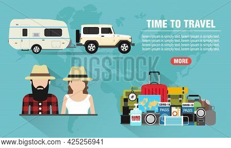Time To Travel Young People Concept Design Flat Banner With Suv, Trailer Camping. Travel Icon. Safe