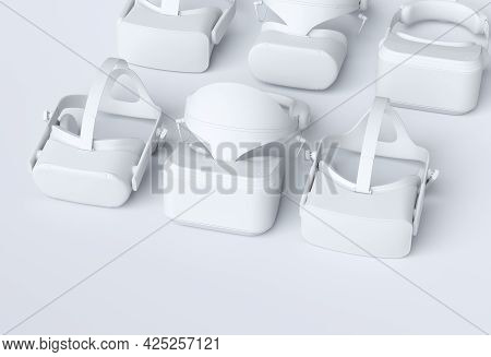 Top View Monochrome Virtual Reality Glasses For Online And Cloud Gaming On White Background. 3d Rend
