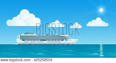 The Vector Illustration Of A White Cruise Ship Is Floating At Sea Also There Are White Clouds And Th