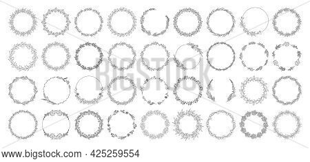 Floral Wreaths Set, Black Outline, Isolated On White. Botanical Frames Of Wild Herbs, Flowers, Leave