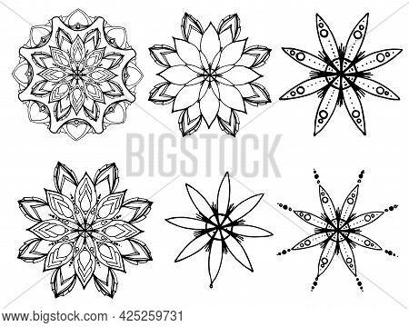 Mandala. A Set Of Vector Mandala. A Set Of Hand-drawn Round Symmetrical Ornaments, Black Isolated Co