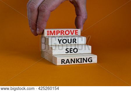 Improve Seo Ranking Symbol. Concept Words 'improve Your Seo Ranking' On Wooden Blocks On A Beautiful