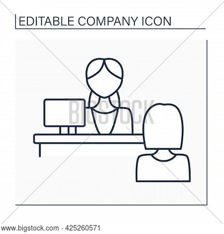 Reception Line Icon. Greeting And Welcoming Clients. Secretary, Office Girl. Company Concept. Isolat