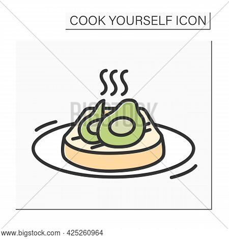 Avocado Toast Color Icon.toasted Bread With Slices Avocado On A Plate.vegan Sandwich.homemade Recipe