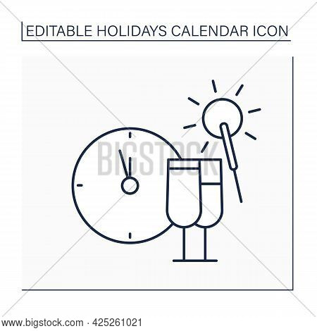 New Year Eve Line Icon. December 31. People Throw Parties, Make Wishes, Drink Champagne And Have Fun