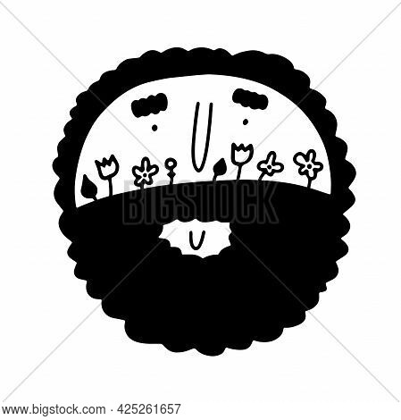 Doodle Male Face With Flowers, Herbs In Beards. Hand-drawn Outline Curly Man Isolated On White Backg