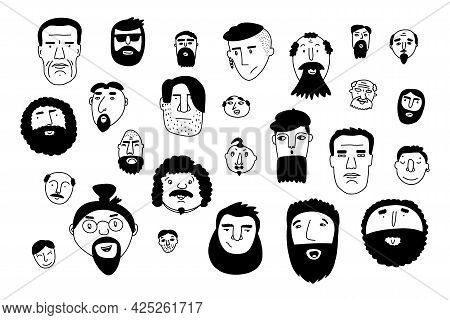 Doodle Faces Set. Hand-drawn Outline People Isolated On White Background. Human Avatar Collection. C