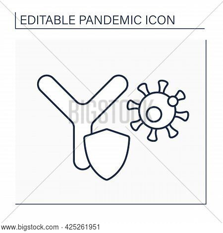 Antibodies Line Icon. Immunoglobulin.y-shaped Proteins. Immune System Protects Body From Viruses. Pa