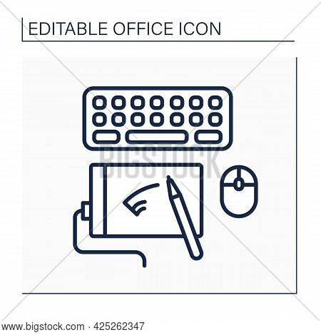 Workspace Line Icon. Modern Technologies For Productivity Work. Keyboard And Computer Mice. Special