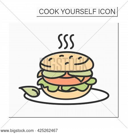 Burger Color Icon.veggie Burger On A Plate. Homemade Healthy Meal. Diet And Vegetarian Recipe. Isola