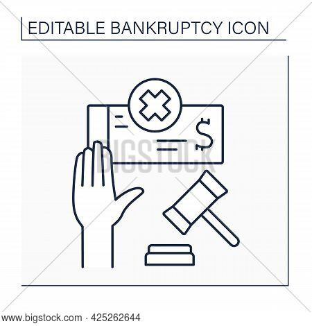 Voluntary Bankruptcy Line Icon. Insolvent Debtor Brings Petition To Court To Declare Bankruptcy. Una