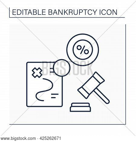 Pre-bankruptcy Planning Line Icon. Transferring Of Non-exempt Assets Into Exempt Assets. Legally App