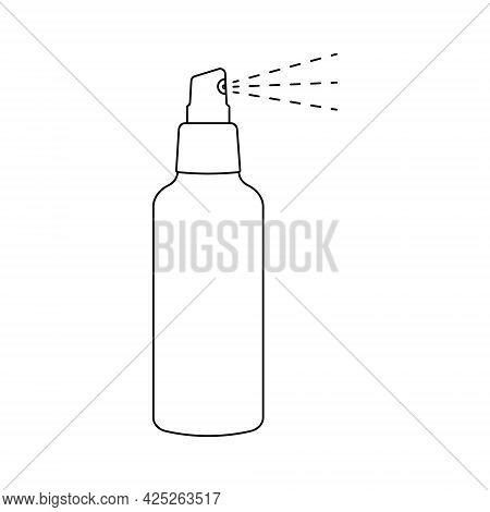 Spray Outline Icon. Aerosol Cleaner, Insect Repellent, Sunscreen Lotion Or Hairspray Bottle In Linea