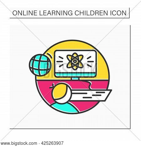 Online Science Color Icon. Online Physics Or Chemistry Lesson. Digital Education And E-learning Conc