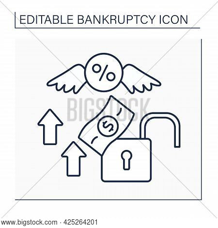 Debt Relief Line Icon. Debt Cancellation. Partial Or Total Forgiveness Of Arrears. Economy Collapsed