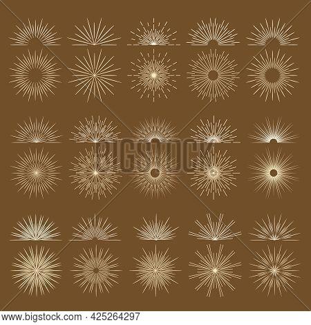 Vintage Bursting Rays Firework Flat Icons Set. Graphic Symbols Half Sun Sunset Spark Starburst Explo