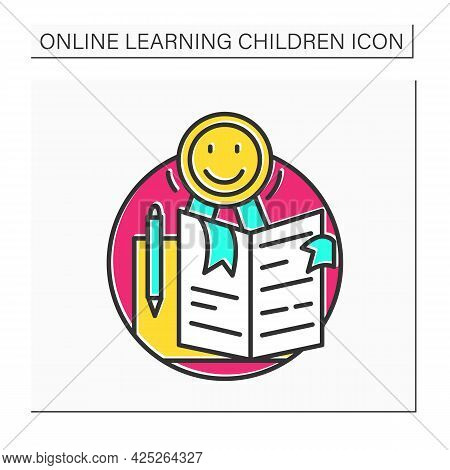Quality Education Color Icon. Global E-learning And Education Online Concept. Distance Training Cour