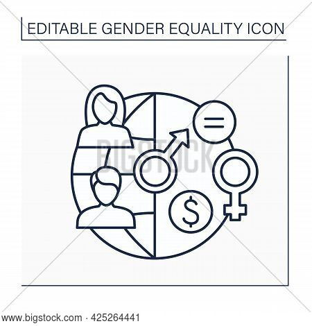 Gender Parity Line Icon. Numerical Value Of Female-to-male For Income Or Education.gender Equality C