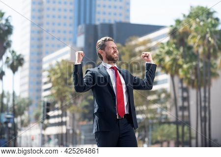Business Success. Successful Boss In Suit. Excited Entrepreneur. Business Excitement