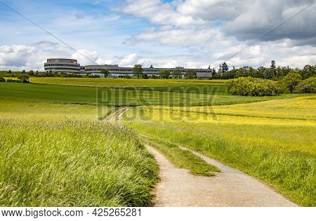 Wetzlar, Germany 2021-05-23:  Leica Headquarter In Wetzlar, Hesse , Germany Surround Canola Meadows,