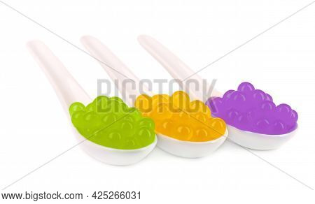 Tapioca Pearls For Bubble Tea Isolated On White Background. Mix Tapioca Fruit Pearls In Spoon.