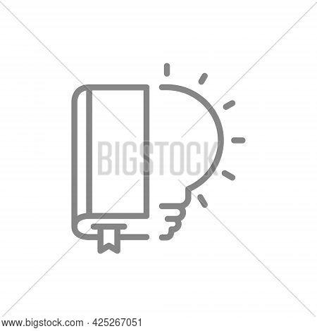 Book With Light Bulb Line Icon. Brainstorm, Encyclopedia Symbol