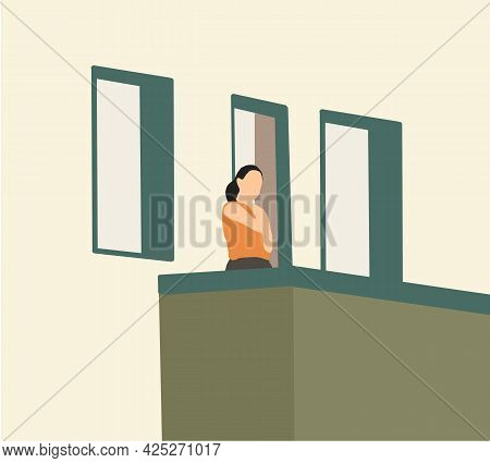Young Woman Feel Free Standing On Balconies And Breathes In The Fresh Air During Lockdown Or Quarant