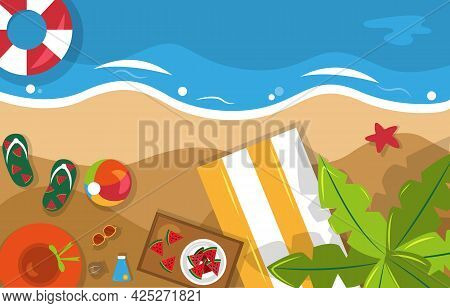Beautiful Summer Beach Sea Nature Vacation Top View Background Illustration 04