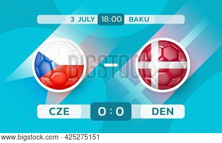 Czech Republic Vs Denmark Match. European Football Championship. Banner Template With Countries Icon