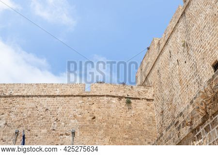 Acre, Israel, June 26, 2021 : The Fortress Walls Of The Crusader Fortress Of The Old City Of Acre In