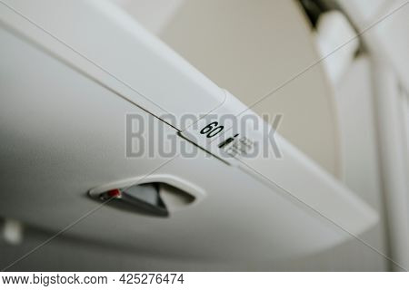 Overhead compartment in the airplane