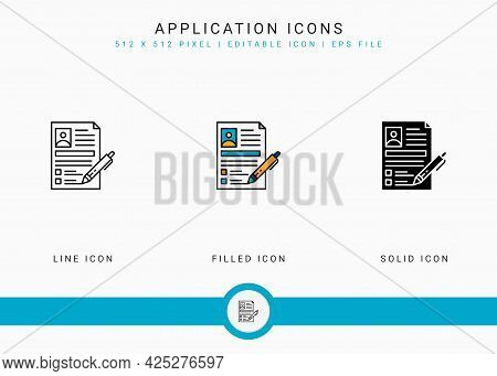 Application Icons Set Vector Illustration With Solid Icon Line Style. Customer Satisfaction Check Co