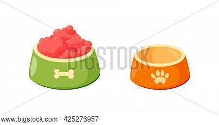 Dog Bowls With Food. Set Bowls For Cat Or Dog For Kibbles And Water. Vector Illustration In Cute Car