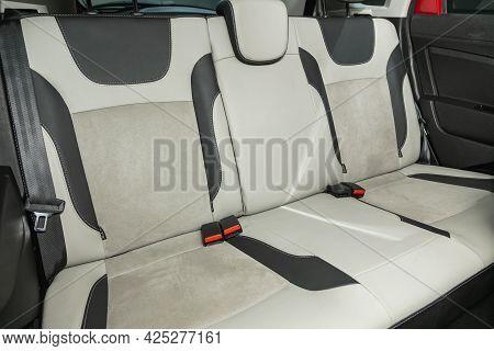 Novosibirsk, Russia - June 29, 2021:lada Xray, Comfort Car Inside. Clean Car Interior: Black Back Se