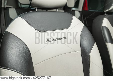 Novosibirsk, Russia - June 29, 2021:lada Xray, Close-up  Black And White  Headrest Driver's Seat Mad