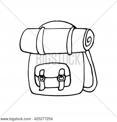 Backpack And Rolled Blanket Icon. Hand Drawn Doodle. Vector, Scandinavian, Nordic, Minimalism, Monoc