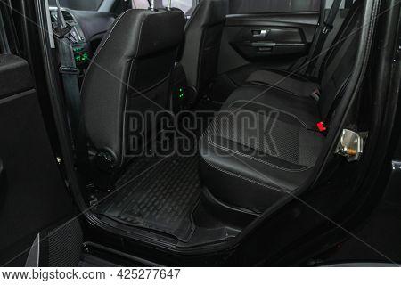 Novosibirsk, Russia - June 29, 2021: Uaz Patriot, Comfort Car Inside. Clean Car Interior: Black Back